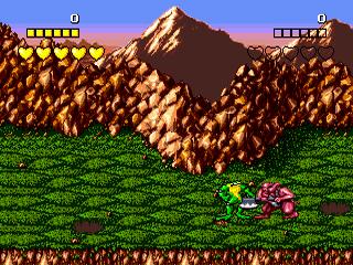 Battletoads Sega Mega Drive, jogo em curso! Frogger detonando os inimigos!
