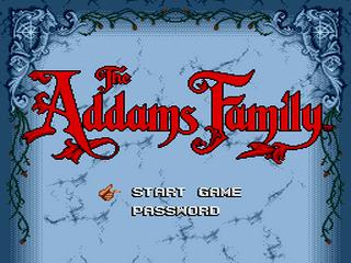 The Addams Family Sega MegaDrive, tela de titulo do game/ title game