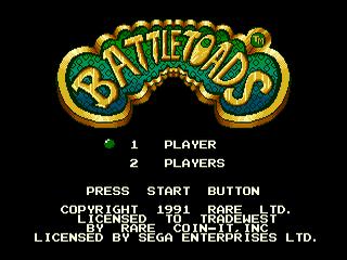 Battletoads Sega Mega Drive, tela de titulo/ title game!