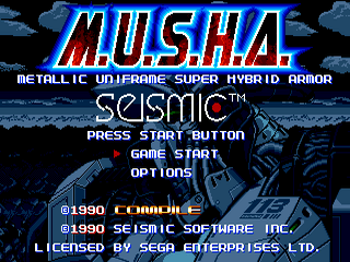 Musha (Aleste) Sega MegaDrive-Tela de Titulo/Titlle Game!