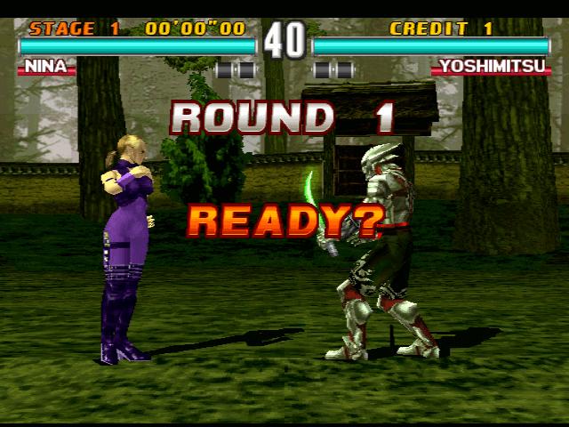 Tekken 3 PSX, luta em Nina e Yoshimtsu.