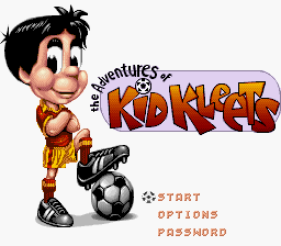 Adventure of Kid Kleets SNES (Soccer Kid), tela de menu!