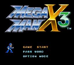 Mega Man X3 Capcom SNES tela de titulo