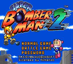 Super Bomberman 2 SNES, tela de menu do game!